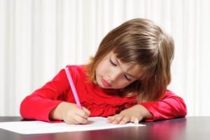child doing copywork
